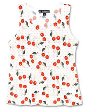 Six Bunnies White Cherry Tank Kids Girls Top Tee Rockabilly Cute Punk Gift Fun