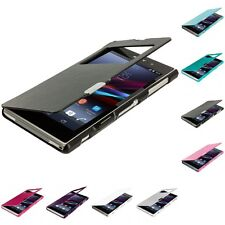 For Sony Xperia Z1 Magnetic Closing Wallet Flip Hard Case Cover With Window