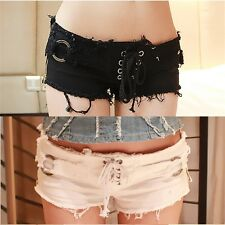 Frayed Women's Cut-off Denim Lace Up Low Rise Shorts Ripped Pants Pockets Zipper