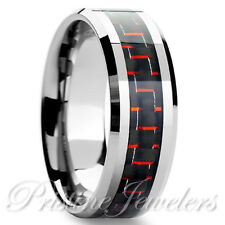 Tungsten Carbide Red Black Carbon Fiber Ring Mens Engagement Wedding Band Silver