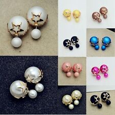 1pair Fashion Jewelry Crystal Double Sided Pearl Earings Ear Stud Ball Beads tgs