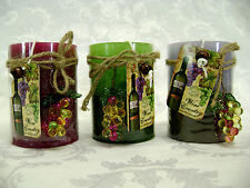 """Deco Glow Wine Country Layered 4"""" Pillar Candles with Glass Grapes Ornament"""