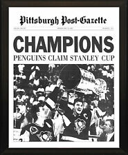 PITTSBURGH PENGUINS 1991 Stanley Cup Champs 8x10 Plaque Post Gazette Front Page