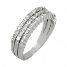 STERLING SILVER 925 CUBIC ZIRCONIA CZ 3-ROW WEDDING BAND RING