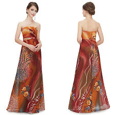 Ever Pretty Animal Printed Strapless Ruffles Long Prom  Evening Dress 08397