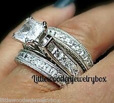 14k White Gold Princess Cut Sim Diamond Engagement Ring Wedding Band Set