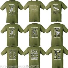MILITARY T-SHIRT 100% COTTON WW2 AIRCRAFT VEHICLES WILLYS JEEP SPITFIRE TYPHOON