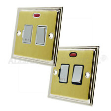 Slimline Satin Brass Polished Chrome Edge Switched Fused Spur Neon 13A Outlet