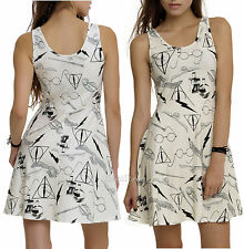 HARRY POTTER DEATHLY HALLOWS SYMBOLS GLASSES IVORY TANK DRESS COSPLAY WAND OWL