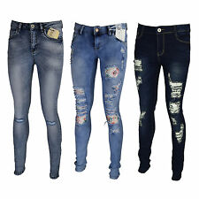 Ladies Womens Skinny Stretchy Faded Ripped Jeans Distres Slim Fit Skinny Pants