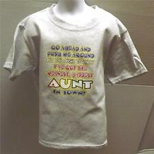 MEANEST BADDEST AUNT IN TOWN Kids LT Blue Tee Shirt 2-4=XS Thru 14-16=LG NWOTS