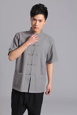 New Fashion Men Short Sleeve Cotton Stand Collar Tang Suit With Plate Button