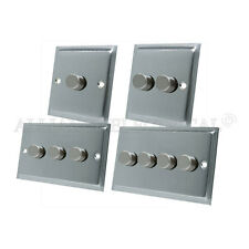Slimline Satin Brushed Matt Chrome Light Dimmer Switch 1/2/3/4 Gang 2 Way Switch