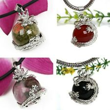 15 Styles Amethyst Jade Gemstone Dragon Wrap Ball Bead Pendant For Necklace L92