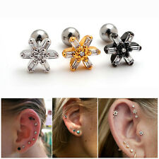 2pcs 16G Clear Crystal Flower Surgical Steel Cartilage Earrings Auricle Piercing