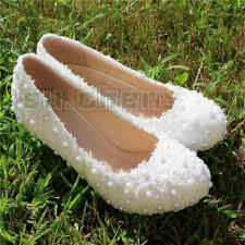 White pearls flats low heel heels pumps lace Wedding shoes Bridal size 6-10