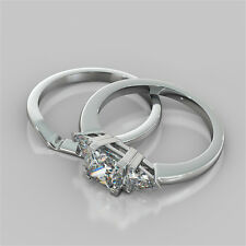 2.16Ct Princess Cut Engagement Ring With Matching Band in 14K White Gold