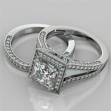 2.84Ct Princess Cut Engagement Ring & Matching Band Available in 14K White Gold