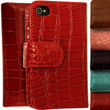Leather Wallet Crocodile Cover for Apple iPhone 4/4S Flip Magnetic Reptile Case