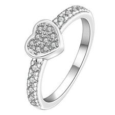 Fashion Women Ladies .925 Crystal Rhinestone Love Heart Finger Ring Party Prom