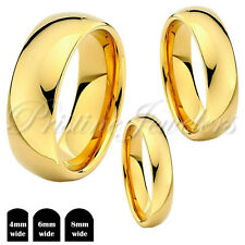 Tungsten Carbide Gold Dome Polished Wedding Band Mens Womens Ring 4mm 6mm 8mm