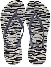 NWT WOMENS 11 / 12 HAVAIANAS SLIM ANIMALS WHITE GREY FLIP FLOPS THONG SANDALS