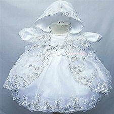 Baby Girls Christening Dress 3 Piece Baptism Gown Jacket & Bonnet White Ivory