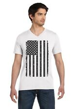 Big Black American Flag - Vintage Distressed USA Flag V-Neck T-Shirt Cool
