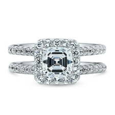 BERRICLE Sterling Silver Asscher Cut CZ Halo Engagement Ring 2.04 Carat