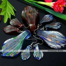Murano Lampwork Glass Leaf Stripe Hook Earring Pendant For Necklace Jewelry Set