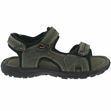 MENS PDQ FAUX NUBUCK SPORTS SANDALS SIZE UK 6 - 12 VELCRO STRAP BROWN M512B KD