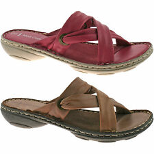 LADIES MOD COMFYS LEATHER SANDALS SIZE UK 3 - UK 4 SUMMER NATURAL FUCHSIA L230
