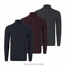 MENS RIB KNITTED HIGH BUTTONED NECK JUMPER RIBBED CASUAL RAGLAN SLEEVE PULLOVER
