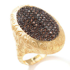Technibond Pave Set Chocolate CZ Oval Ring 14K Yellow Gold Clad Silver HSN