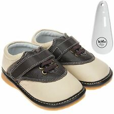Boys Toddler Childrens Leather Squeaky Shoes Cream Fastening & Shoe Horn
