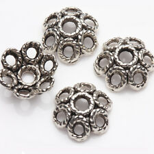15/30Pcs Tibetan Silver Carved Flower Shape Spacer Loose Charms Bead Caps 12*6mm