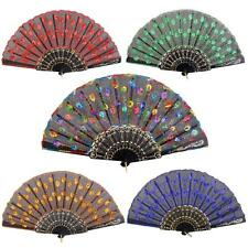 Folding Spanish Flower Silk Embroidered Sequin Hand Fan Dancing Wedding Party