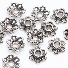 100/200Pcs Tibetan Silver Plated Flower Shape Spacer Bead Caps Findings 5*2mm