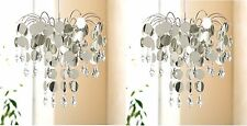 2 x Crystal Droplet Ceiling Pendant Light Shade Chandelier Light Fitting Silver