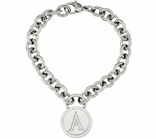 QVC Steel by Design Pave Circle Disc Initial Rolo Charm Bracelet One Size Fits
