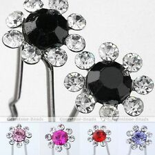 10x Wedding Party Flower Crystal Hair Pins Barrette Bridal Jewelry Hairpins Gift