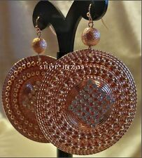 ROSE GOLD or SILVER THIN METAL DISC BEAD CHAIN PAVE CRYSTAL DANGLE HOOK EARRINGS