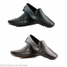 ZASEL MENS BLACK BROWN LEATHER CASUAL SLIP ON BOAT DECK DRIVING LOAFERS SHOES