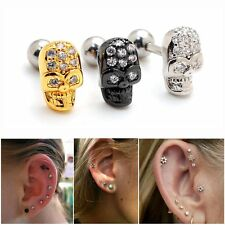 2pcs 16G Skull Head Upper Ear Cartilage Stud Helix Earring Piercing Barbell Punk
