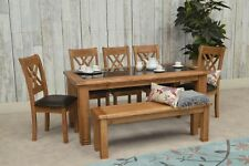 GRANT DINING SET TABLE KITCHEN-SOLID OAK GRANITE- COUNTRY MODERN FURNITURE