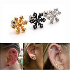 2pcs 16G Snowflake Upper Ear Studs Cartilage Helix Earrings Piercing 16 Gauges