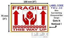 Red FRAGILE HANDS THIS WAY UP Box Packaging Labels Stickers 100x75mm 4x3 TWU-30