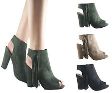NEW LADIES WOMEN TASSLE BLOCK HEEL PEEP TOE CUTOUT HEEL SUEDE ANKLE BOOT SIZE3-8