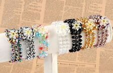 Crystal Glass Faceted Flower Bead Charms Stretchy Bangle Bracelet Women Jewelry