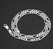 """7mm 5/16"""" Bold Solid Figaro Link Chain Necklace Real 925 Sterling Silver"""